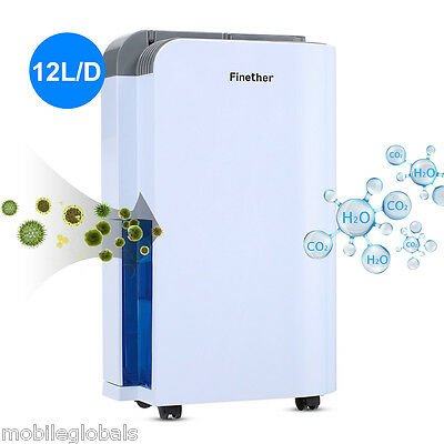 12L/D Air Dehumidifier Anion Air Purify Damp Mould Home Bedrooms Kitchen UK