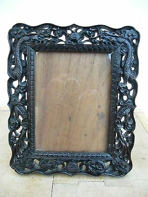 A FINE ANTIQUE CHINESE CARVED WOODEN PICTURE FRAME DRAGONS BATS 19c