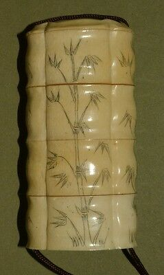 Japanese Antique Pill box Asian Japan Art Inrou Bamboo Painting Picture t55
