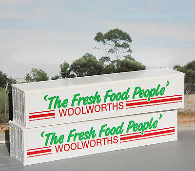 Two Woolworths 40ft containers in HO scale - OLD logo - new
