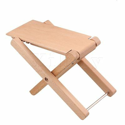 Beech Wood Color Adjustable Height 4Level Foldable Guitar Pedal Footrest