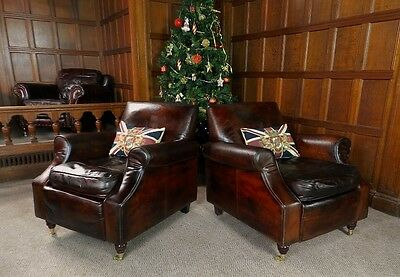 Pair Of Victorian Style Tobacco Conker Brown Leather Chesterfield Club Armchairs