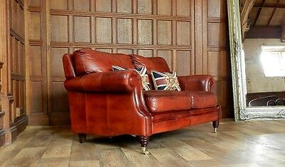 VICTORIAN STYLE CHESTNUT ANTIQUE TAN BROWN LEATHER 2 SEATER CLUB SOFA 1 of PAIR