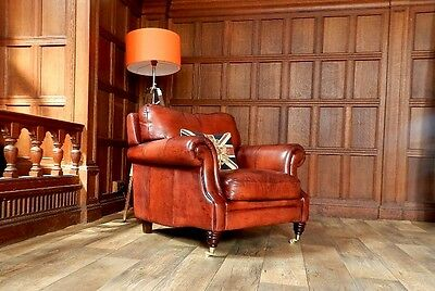 VICTORIAN STYLE CHESTNUT TAN BROWN LEATHER CHESTERFIELD CLUB ARMCHAIR 2 of PAIR