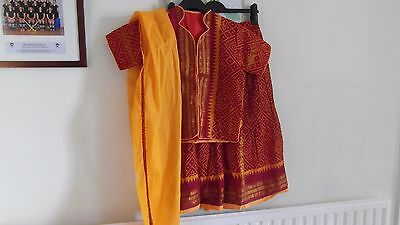 "Indian / fancy dress outfit skirt top scarf 30"" chest, 28"" waist Age 9-11 cotton"