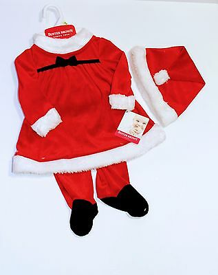 Baby Girls Christmas Xmas Santa Claus Fancy Costume Dress Outfit Hat 6 12 18 24m