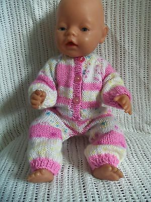 """Hand Knitted Dolls """"onsie"""" For Baby Born/annabel 16-18Ins  Or Similar Type Doll"""