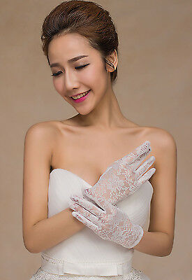 White Floral Lace Party Bridal Gloves # LG-005