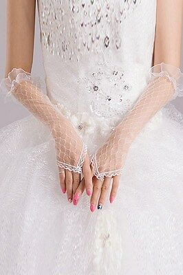 White Sheer Pothole Crochet Fingerless Elbow Length Bridal Gloves # LG-002