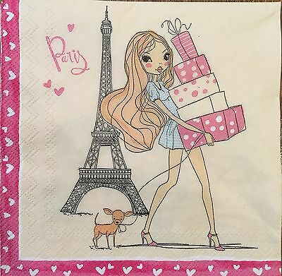 2 single paper napkins decoupage scrapbooking or collection Girls Paris Shopping