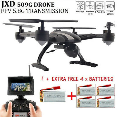 JXD 509G Drone RC Quadcopter FPV Quadcopter 2.0MP Camera Extra 4 x Batteries