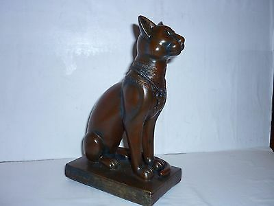 egyptian cat statue. bronzed in colour resin cast.