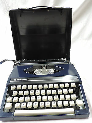 Silverette Blue Typewriter Silver Reed Portable MINT WORKING UNUSED In Case