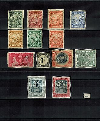 Barbados 1906+ Selection Of Mint And Used Stamps On 2 X Stockcards