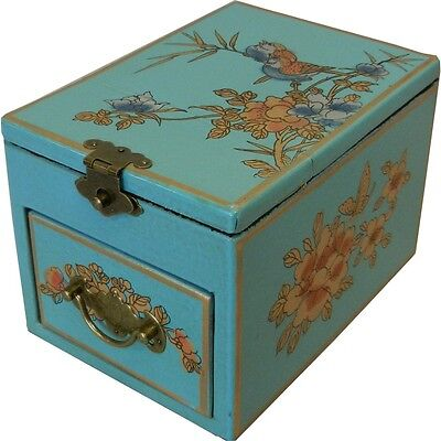 Blue Jewellery Box with Stand up  Mirror - Asian Traditional (MB-S1LU-FL)1