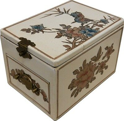 White Jewellery Box with Stand up  Mirror - Traditional Chinese (MB-S1W-FL)1