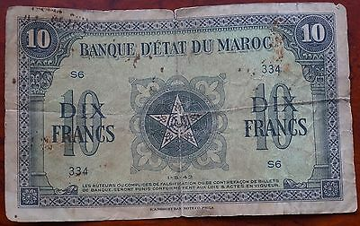 Morocco, 10 Francs 334/S6, dated 1-5-43, creased & folded, Fair