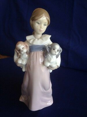 """LLADRO GIRL With Puppies~""""ARMS FULL OF LOVE""""~ (6419)~ 1997"""