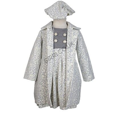 Girls Formal Ivory Winter Coat Dress and Hat Set, Girls Embossed Print Coat