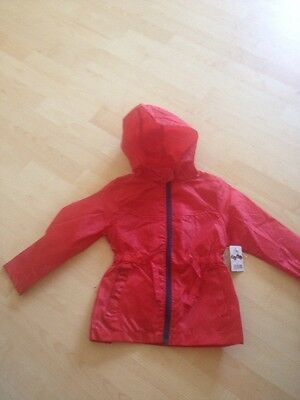 Girls Hooded Fold Away In Pocket Red Jacket Age 2/3 Years