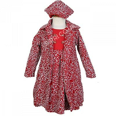 Girls Red Grey Winter Coat Dress and Hat Set, Embossed Print Girls Coat 2 to 8