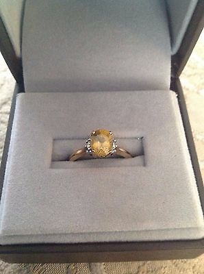 9K Yellow Gold Spehe and Diamond ring size N