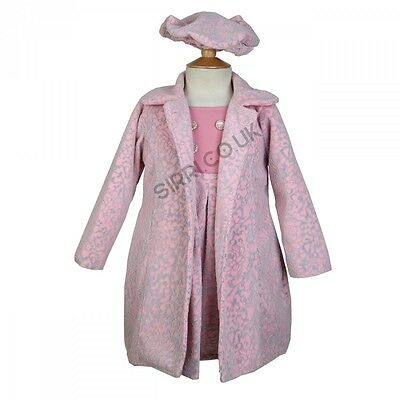 Girls Baby Pink Winter Coat Dress and Hat Set, Embossed Print Girls Coat 2 to 8