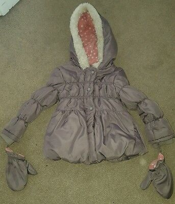 Girls winter coat, age 4-5 yrs, with mittens