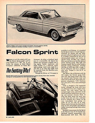1964 Ford Falcon Sprint ~ Original 2-Pg New Car Preview Article / Pictorial / Ad