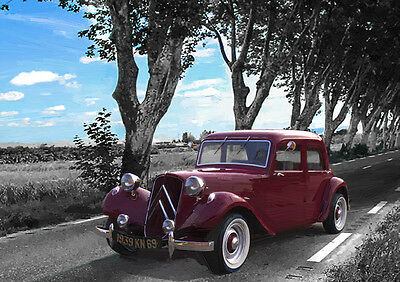 Automotive Art - Citroen Traction Avant  - Hand Finished, Limited Edition (25)