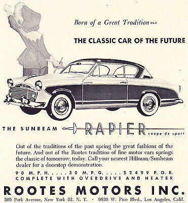 1956 Sunbeam Rapier  ~  Nice Original Smaller Print Ad