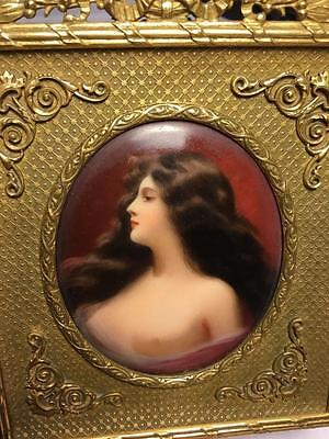 ANTIQUE 19th GERMAN HAND PAINTED SIGNED PORCELAIN MINIATURE PLAQUE NUDE ASTI!