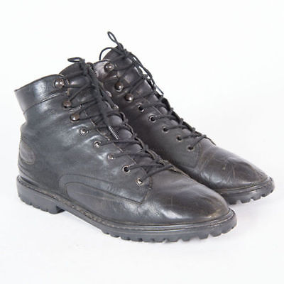 Black Leather Ankle Boots 37 6.5 7 Grunge