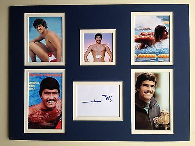 """Swimming Mark Spitz Signed 16""""x12"""" Double Mounted Picture Display"""