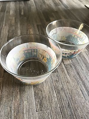 2 Glass Kelloggs Retro Vintage Style Cereal Bowls Dish