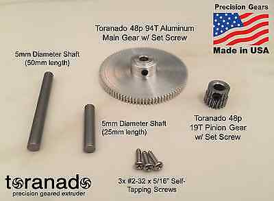 Toranado Extruder v2.0 - Gear & Shaft Kit w/ Fasteners, Bearings and Collar