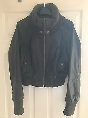 Leather Jacket Brown Women's Size 12 Short Length Cropped Pilot Style