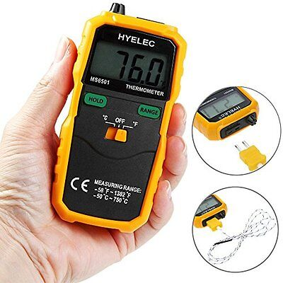 HYELEC MS6501 LCD Digital Instant-Read Thermometer Temperature Meter with Type K