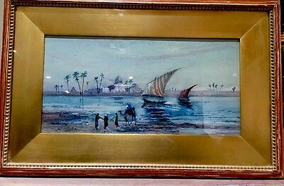 Antique Original Watercolour Painting Egyptian & The River Nile Signed