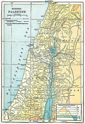 Palestine Map 1916 Original Antique Middle East Rand McNally, Wall Decor