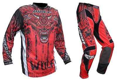Wulf Attack Adult Red Motocross Kit Off Road Shirt Pants Wulfsport Enduro
