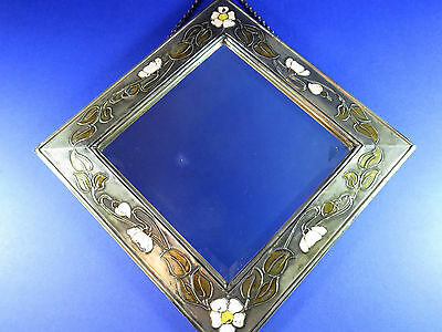 Antique Art Nouveau ~ Arts & Crafts ~ Wall Hanging Pewter Painted Mirror