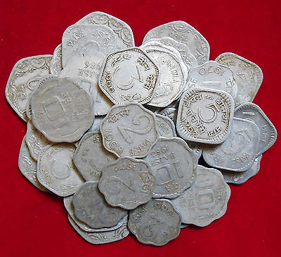 Republic India Mix Lot 40 Diffirent Mint & Years 2/3/5/10/20 Paise Coins (A692)