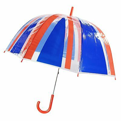 "23"" Large Clear See Through Dome Union Jack Umbrella Ladies Mens Walking Brolly"