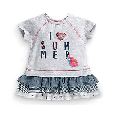 2015 New Little Maven Baby Girl Children I LOVE Summer Dress Grey Cotton Top&Lac
