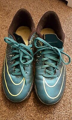 Nike Mens Football Trainers Boots Astro Turf Size 8.5 Blue Yellow Mercurial Used