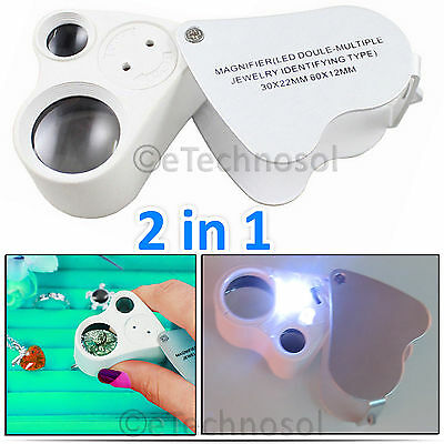 30x 60x Magnifying Glass Magnifier Eye Jewelry Loupe Loop with 2 LED Light Tool