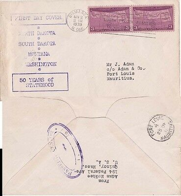 Mauritius 1939 Ex USA FDC to Mauritius and censored there on back