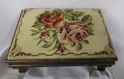 Antique Embroidery Wooden Stool 34 x 24 x 10cm