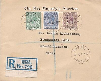 Bahamas 1932 OHMS Cover from Nassau registered to England.